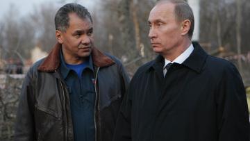 gen. Siergiej Szojgu, minister ds. sytuacji nadzwyczajnych, i premier Federacji Rosyjskiej Władymir Putin